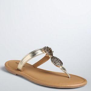 Torrid Gold pineapple flip flops